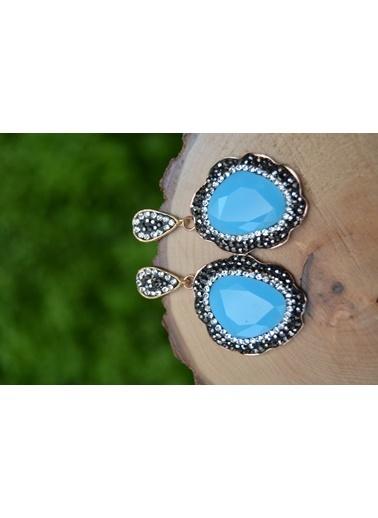 Stoneage Özel Tasarım Kristal Bayan Küpe Turkuaz